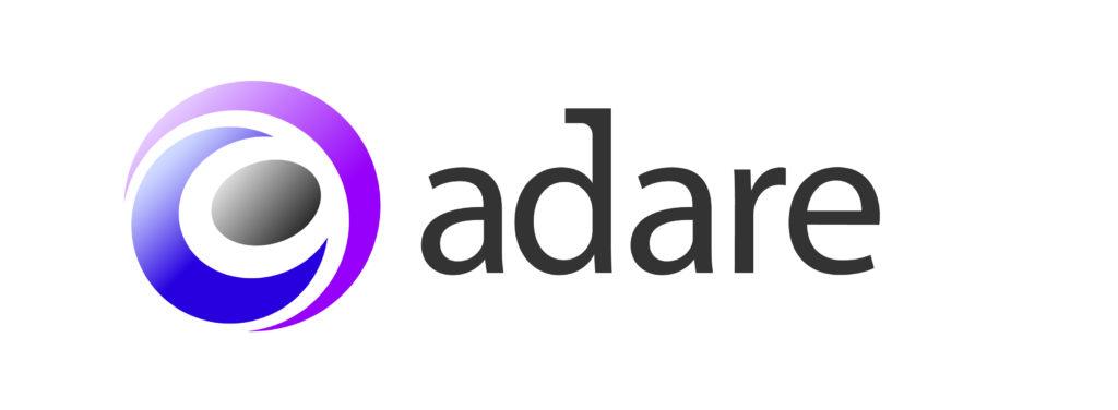 Purple pink grey swirl logo with adare in lowercase black writing