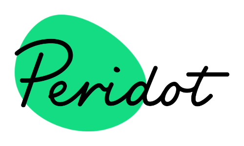 Peridot written in black italics across a green oval